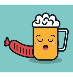 cartoon beer glass and sausage isolated icon vector image