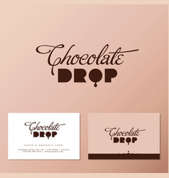 Chocolate drop cafe business card vector