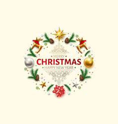 christmas background spruce star ribbon bow vector image