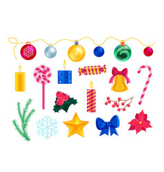 christmas symbol decoration and attribute set vector image