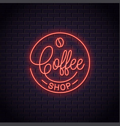 coffee neon logo coffee shop neon sign vector image