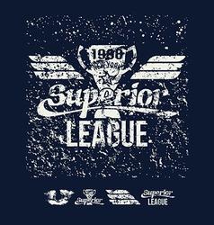 College rugsuperior league retro emblem vector
