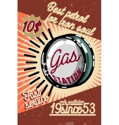 Color vintage gas station poster vector