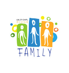 Colorful family logo design with abstract people vector