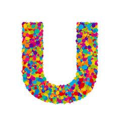 Colorful paint splashes font letter u vector