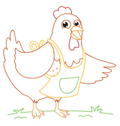 coloring book of cartoon chick vector image