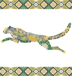Creative puma pattern made from flowers leaves vector