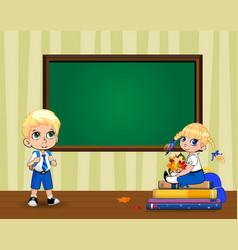 Cute cartoon school kids in classroom near clear vector