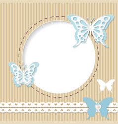 cute round frame with paper cut butterflies vector image