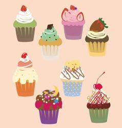 cutie cupcakes sweets vector image