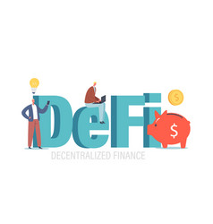 defi decentralized finance tiny businesspeople vector image
