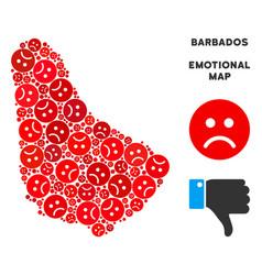 Dolor barbados map collage of sad smileys vector