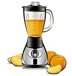 Drawing color kitchen blender with orange juice vector