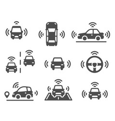 driverless car icons autonomous robotic car vector image