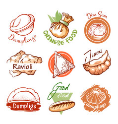 Dumplings oriental restaurant logo and graphic vector