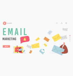 email marketing landing page template character vector image