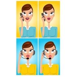 Facial expressions cartoon operator vector