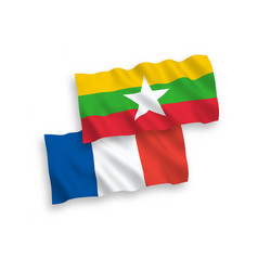 flags france and myanmar on a white background vector image