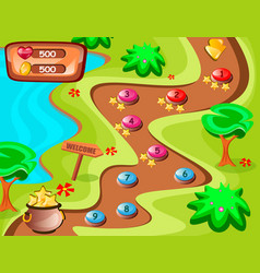 game background and icons with nature theme vector image