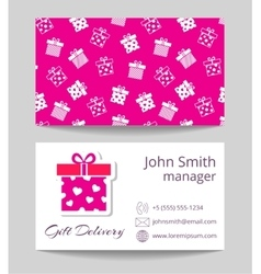 Gift delivery service business card template vector image