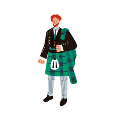 Ginger man in traditional male scottish costume vector