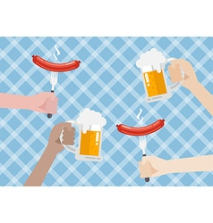 Glass of beer and sausage on blue background vector
