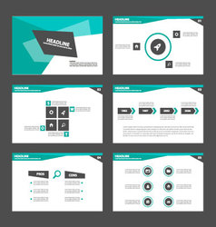Green crystal presentation templates Infographic vector