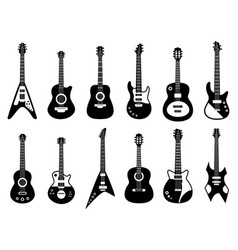 Guitars silhouette black electric and acoustic vector