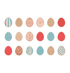 hand drawn easter eggs decorative doodle lineart vector image
