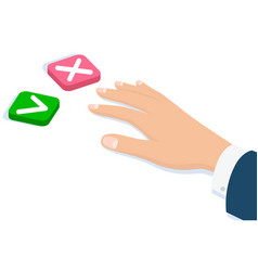 hand pressing buttons no yes choice decision and vector image