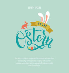 Happy easter germany calligraphy greeting card vector