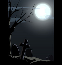 Happy halloween graveyard and died tree night back vector