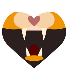 Heart jaw flat on white vector