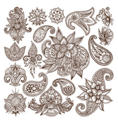Henna mehndi flower template vector