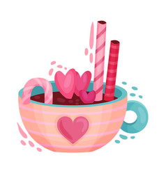 Hot chocolate drink with sweet stick and candies vector