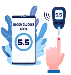 human hand with blood drop and glucose testing vector image