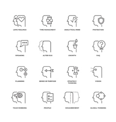 human mind process brain features line vector image
