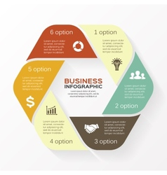 Infographic diagram 6 options parts steps vector image