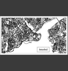 Istanbul turkey map in black and white color vector