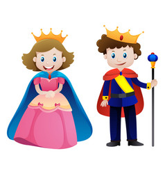 king and queen on white background vector image