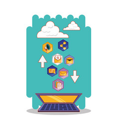 laptop computer with social media set icons vector image