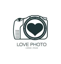 Love photo camera icon isolated vector