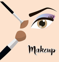 Makeup eye girl brush design vector