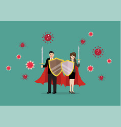 man and woman with shield sword prepare to vector image