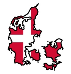 Map in colors of Denmark vector image