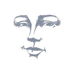 Monochrome art portrait of flirting woman face vector image