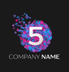 number five logo with blue purple pink particles vector image
