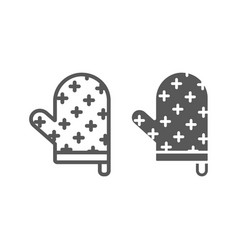 Oven glove line and glyph icon kitchen vector