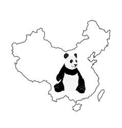 panda on china map contour vector image