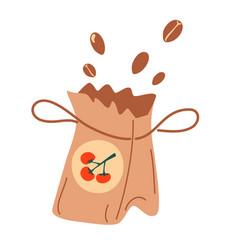 Paper bag seeds fertilizer organic bag icon vector